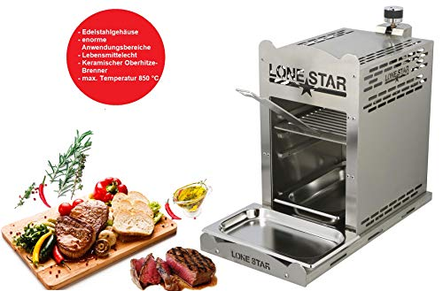 LoneStar StarBurner2 Edelstahl Steak Gasgrill Hochtemperatur Grill, Beef maker Oberhitzegrill bis 850 °C, Outdoor Gas Grill, Steaks Grillen wie ein Profi, Steakgriller mit regulierbarem Gasbrenner - 1