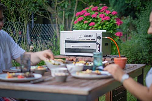 Meateor Helios Oberhitzegrill aus Edelstahl mit Piezo-Zünder für Temperaturen bis zu 800° C Inkl. Grillrost Und Auffangschale Gasgrill Hochleistungsgrill Pizzaofen - 9