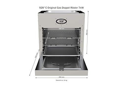 928°C Original Grill Doppel Röster. S70T. 7 kW. Doppelwandiger Oberhitze-Grill mit Hochleistungs-Infrarot-Brenner, Piezo Zündung, verlängerter Fett-Auffangwanne und Warmhalte-Schale (ca. 80°C) oben. - 4