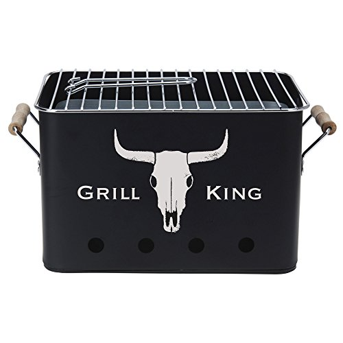BBQ Grill King | mobiler Barbecue Mini Holzkohle-Grill | Picknickgrill Campinggrill Reisegrill - 1