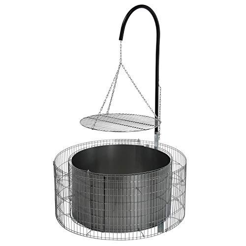 bellissa Feuer- und Grillstelle aus Gabionen - 95580 - Feuerstelle inkl. Grillrost, Grillgalgen und Ketten - Durchmesser 92/72 cm, Höhe 40 cm   - 1