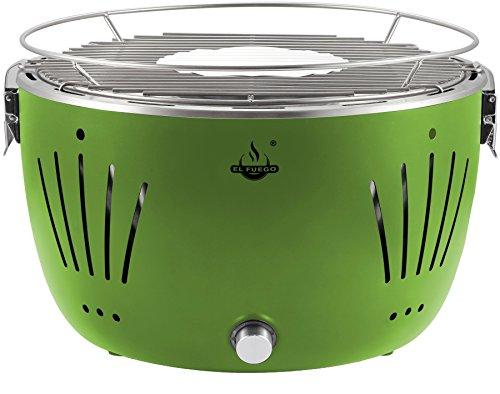 El Fuego rauchfreier Holzkohlegrill, Tulsa, grün, 34,2 x 34,2 x 21,5 cm, AY5254 - 1