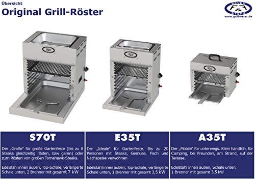 F&F 928°C Original Grill Röster. E35T. 3,5 kW. Doppelwandiger Oberhitze-Grill mit Hochleistungs-Infrarot-Brenner, Piezo Zündung, verlängerter Fett-Auffangwanne und Warmhalte-Schale (ca. 80°C) Oben. - 2