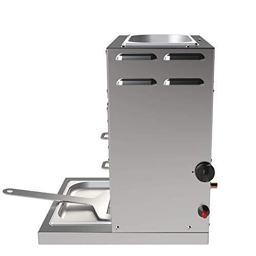 F&F 928°C Original Grill Röster. E35T. 3,5 kW. Doppelwandiger Oberhitze-Grill mit Hochleistungs-Infrarot-Brenner, Piezo Zündung, verlängerter Fett-Auffangwanne und Warmhalte-Schale (ca. 80°C) Oben. - 5