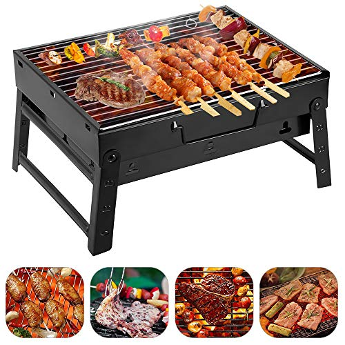 Holzkohlegrill tragbarerKlappgrill Picknickgrill für Garten Camping Party BBQ ca. 35*27*19.5cm Grillfläche (Klein) - 1
