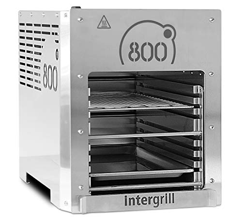 intergrill 800° XL Hochleistungsgrill Oberhitzegrill Farbe Grau Edelstahl inkl. Grillrost Gastroschale Schutzschublade Griff Piezozündung - 1