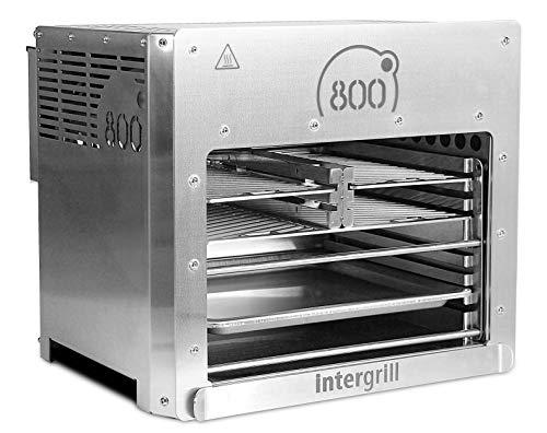 intergrill 800° XXL Hochleistungsgrill Oberhitzegrill Doppel-Brenner Farbe Grau Edelstahl inkl. 3X Grillroste Gastroschale Schutzschublade Griff Piezozündung - 1