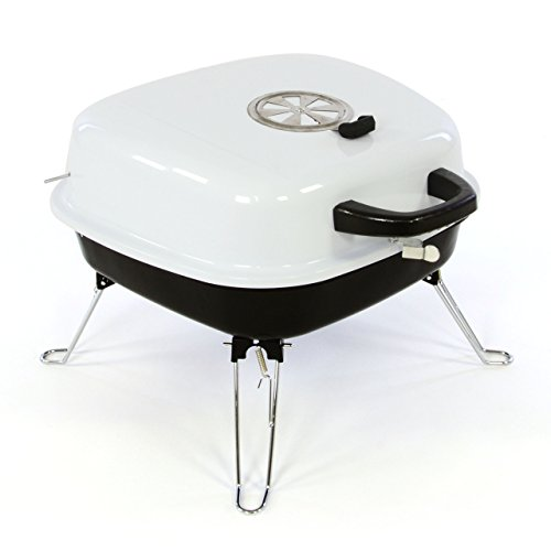 Mini Koffer-Grill Holzkohlegrill für Garten Terrasse Camping Festival Picknick Party BBQ Barbecue ca. 34 x 36 cm Grillfläche weiß - 1