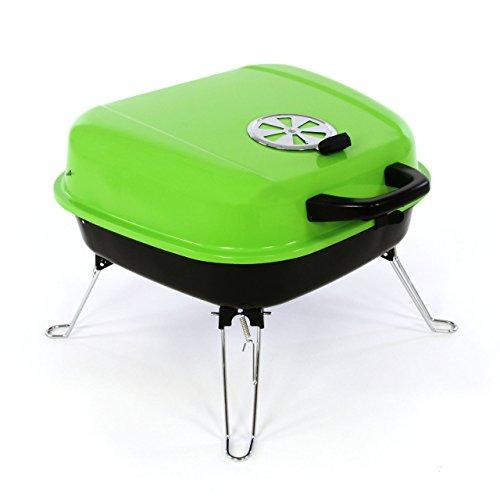 Nexos Mini Koffer-Grill Holzkohlegrill für Garten Terrasse Camping Festival Picknick Party BBQ Barbecue ca. 34 x 36 cm Grillfläche grün - 1