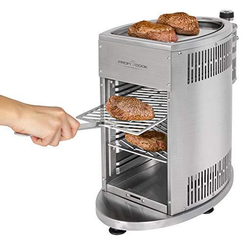 ProfiCook PC-GBS 1178 Gas Beef Steaker, 800° Hochleistungsgrill, hochwertiges Edelstahl, Warmhaltefunktion inkl. 2 Grillroste, Fettauffangschale, Gasdruckminderer und Schlauch für DE + AU - 2