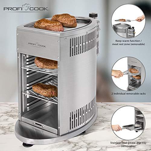 ProfiCook PC-GBS 1178 Gas Beef Steaker, 800° Hochleistungsgrill, hochwertiges Edelstahl, Warmhaltefunktion inkl. 2 Grillroste, Fettauffangschale, Gasdruckminderer und Schlauch für DE + AU - 3