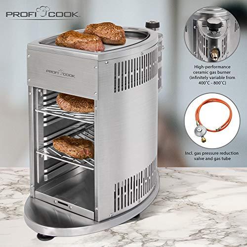 ProfiCook PC-GBS 1178 Gas Beef Steaker, 800° Hochleistungsgrill, hochwertiges Edelstahl, Warmhaltefunktion inkl. 2 Grillroste, Fettauffangschale, Gasdruckminderer und Schlauch für DE + AU - 4