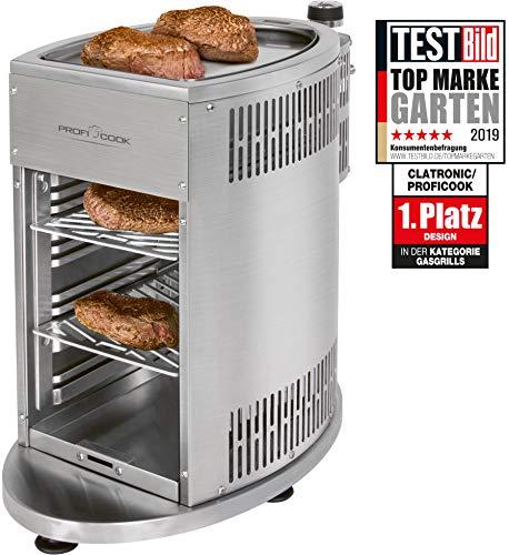 ProfiCook PC-GBS 1178 Gas Beef Steaker, 800° Hochleistungsgrill, hochwertiges Edelstahl, Warmhaltefunktion inkl. 2 Grillroste, Fettauffangschale, Gasdruckminderer und Schlauch für DE + AU - 1