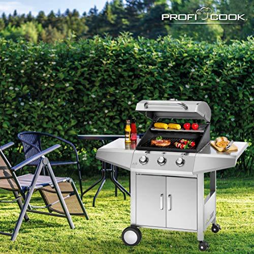 ProfiCook PC-GG 1057 Gasgrill inkl. Temperaturanzeige, 3-Edelstahlbrenner, 3 Heizzonen für indiv. Temperatursteuerung, herausnehmbarer Fettauffangbehälter, stufenlose Temperatureinstellung - 6