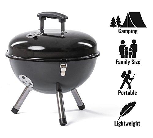 Rosmarino Hochwertige Mini Grill für Camping - Tragbare Picknick Kugelgrill aus Edelstahl - No.1 Klappgrill für Romantisches Grillen - 1