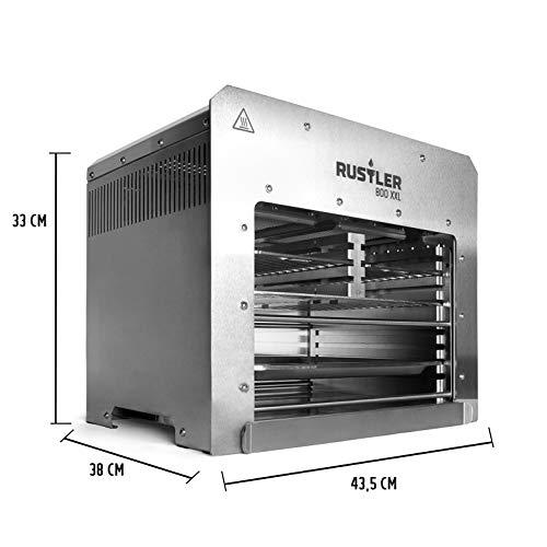 Rustler 800 XXL Hochleistungsgrill | Oberhitze Gasgrill aus Edelstahl für Temperaturen bis zu 800° C mit Piezozünder | 800 Grad Grill | Inkl. 3 Grillroste & Auffangschale - 3