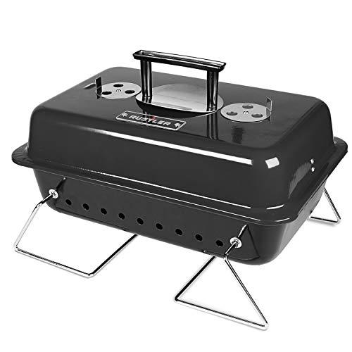 Rustler Holzkohle Picknickgrill 15 cm , schwarz emailiert , Tragbarer Grill mit Deckelthermometer, klappbaren Standfüßen & großer Grillfläche , Klappgrill für Garten, Balkon, Festival & Camping - 1