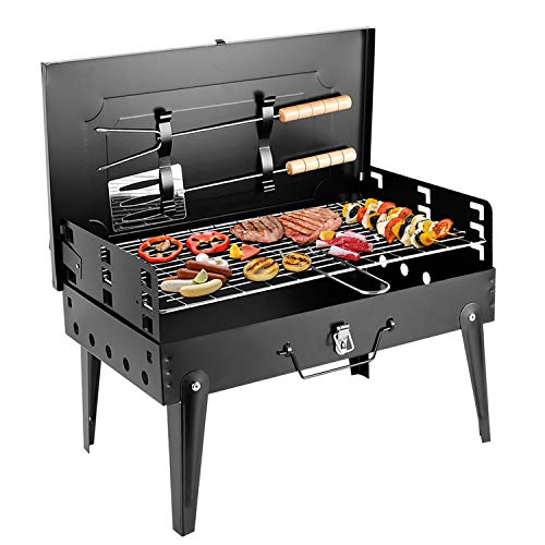 SunJas Holzkohlegrill, Campinggrill, faltbare BBQ Grill, Outdoor Reisegrill, Tischgrill, Mini Grill für Picknick Party Barbecue, inkl. 2tlg Grillbesteck, 43*27*46.5cm - 1