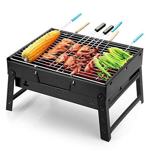 Uten Barbecue Tragbarer BBQ Kohle Smoker Grill für Outdoor Kochen Camping Wandern Picknick Backpacking, Schwarz - 1