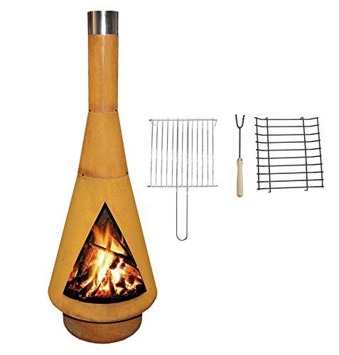 YERD Corten Terrassen-Ofen/Grill-Kamin Denver BBQ: Echter Corten-Stahl Gartenkamin (Edelrost), inkl. Grill-Rost (L 125cm Corten) - 1